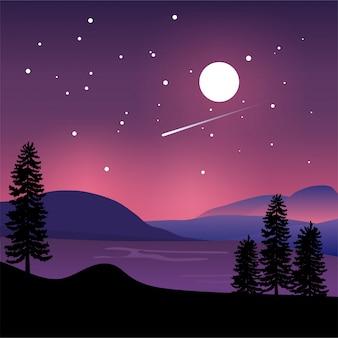 Hintergrund von bergen und von see mit purpurrotem design