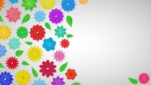 Hintergrund von bunten papierblumen mit schatten