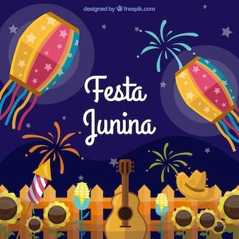 Hintergrund von festa junina mit feier und feuerwerken