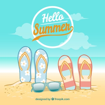 Hintergrund von flip-flops und sonnenbrillen am strand