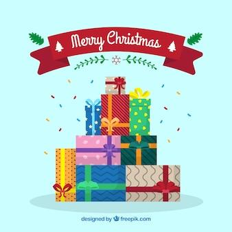 Hintergrund von geschenkboxen im flachen design