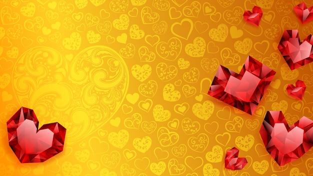 Hintergrund von großen, kleinen und mehreren kristallherzen, rot auf gelb. illustration am valentinstag