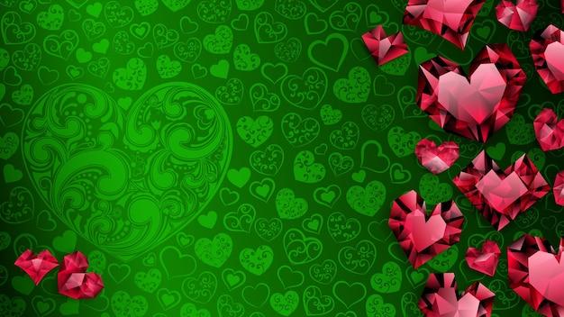 Hintergrund von großen, kleinen und mehreren kristallherzen, rot auf grün. illustration am valentinstag
