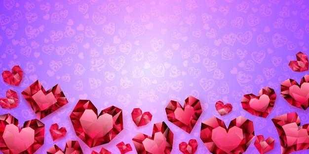 Hintergrund von großen, kleinen und mehreren kristallherzen, rot auf hellviolett. illustration am valentinstag