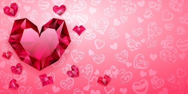 Hintergrund von großen, kleinen und mehreren kristallherzen, rot auf rosa. illustration am valentinstag