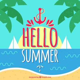 Hintergrund von hallo sommer mit gezogener art des strandes in der hand