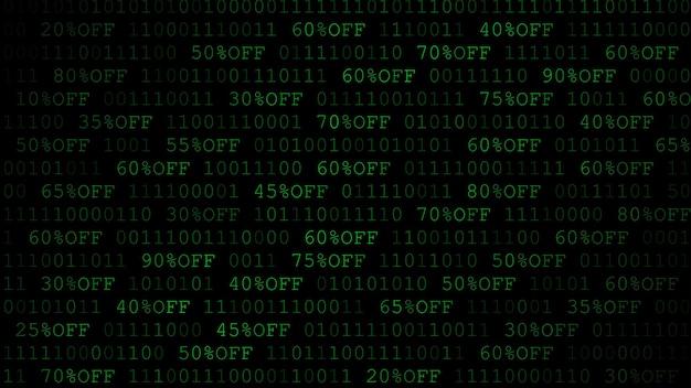 Hintergrund von nullen, einsen und rabattbetrag in dunkelgrünen farben
