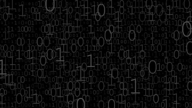 Hintergrund von nullen und einsen in schwarzen und grauen farben