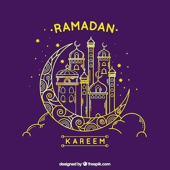 Hintergrund von ramadan mit moschee und mond in monolines
