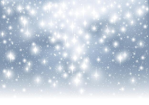 Hintergrund von strahlend weißen funkelnden lichtern über blau
