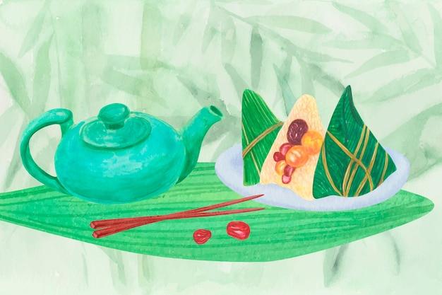 Hintergrund von teekanne und zongzi