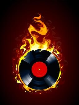 Hintergrund von vinyl in flammen