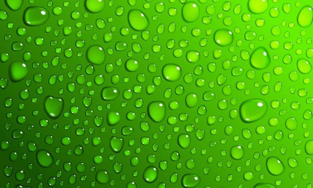 Hintergrund von wassertröpfchen auf der oberfläche in grünen farben