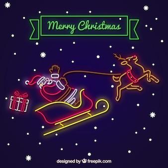 Hintergrund von weihnachtsmann im neonschlitten