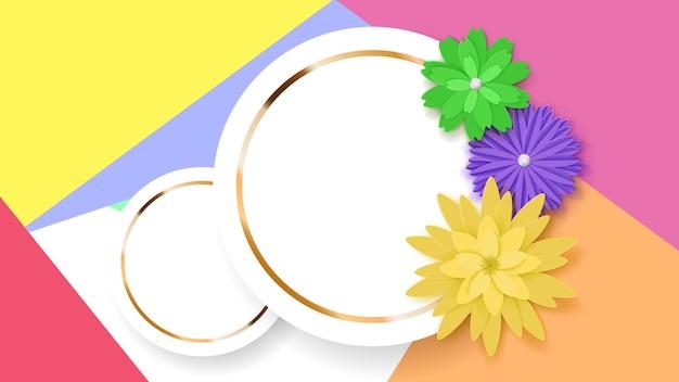 Hintergrund von zwei weißen kreisrahmen mit goldenen streifen und farbigen papierblumen
