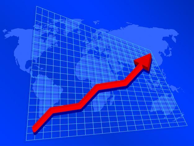Hintergrund zeigt grafik mit steigenden gewinnen auf weltkarte