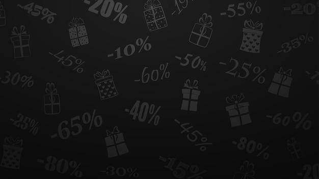 Hintergrund zu rabatten und sonderangeboten, bestehend aus aufschriften und geschenkboxen, in schwarzen und grauen farben