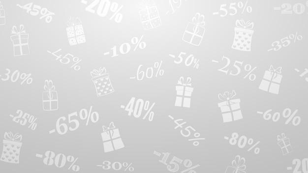 Hintergrund zu rabatten und sonderangeboten, bestehend aus aufschriften und geschenkboxen, in weißen und grauen farben