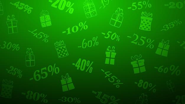 Hintergrund zu rabatten und sonderangeboten, bestehend aus inschriften und geschenkboxen, in grünen farben