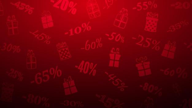 Hintergrund zu rabatten und sonderangeboten, bestehend aus inschriften und geschenkboxen in roten farben