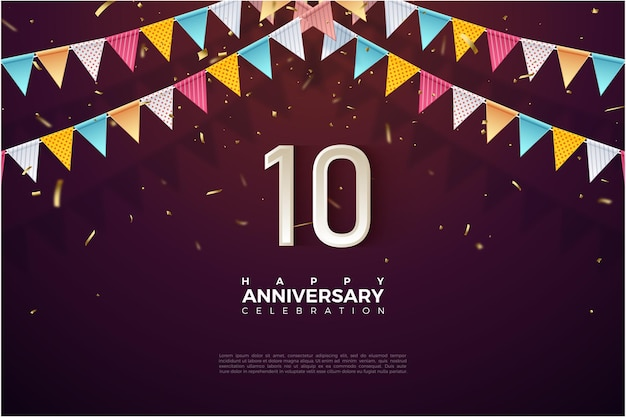 Hintergrund zum 10-jährigen jubiläum mit bunter flagge auf zahlen