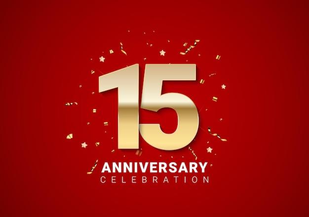 Hintergrund zum 15-jährigen jubiläum mit goldenen zahlen, konfetti, sternen auf leuchtend rotem feiertagshintergrund. vektor-illustration eps10