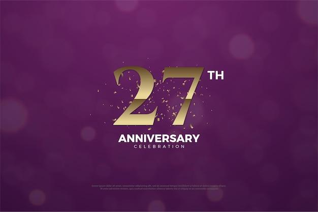 Hintergrund zum 27. jahrestag mit lila hintergrund und goldenen zahlen.