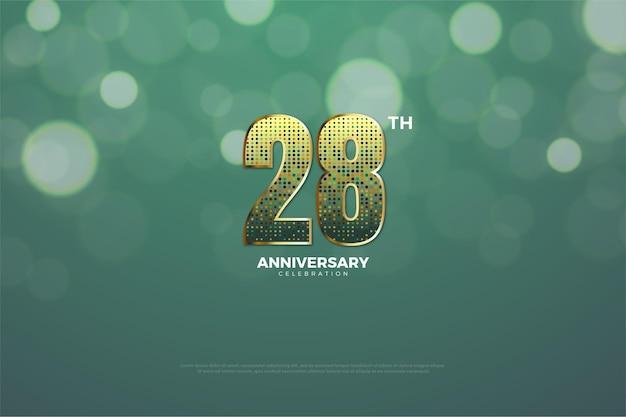 Hintergrund zum 28. jahrestag mit funkelnden glitzernummern