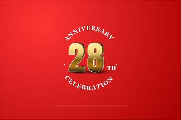 Hintergrund zum 28. jahrestag mit schattierten goldnummern
