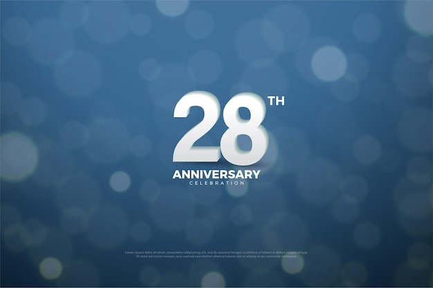 Hintergrund zum 28. jahrestag mit umfassenden lichtzahlen und schatten