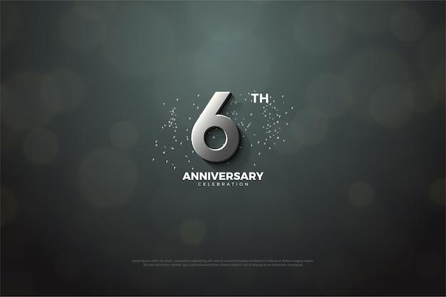 Hintergrund zum 6. jahrestag mit silberner nummer