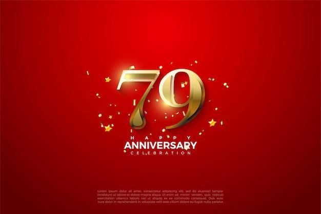 Hintergrund zum 79. jahrestag mit goldenen zahlen