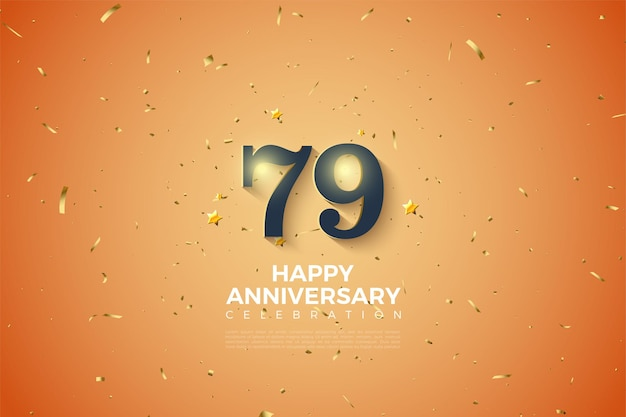 Hintergrund zum 79. jubiläum mit leuchtenden zahlen