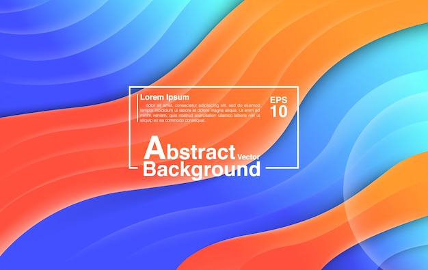 Hintergrund-zusammenfassung von der flüssigen form-zusammensetzung. hintergrund und tapete bunte blaue orange.