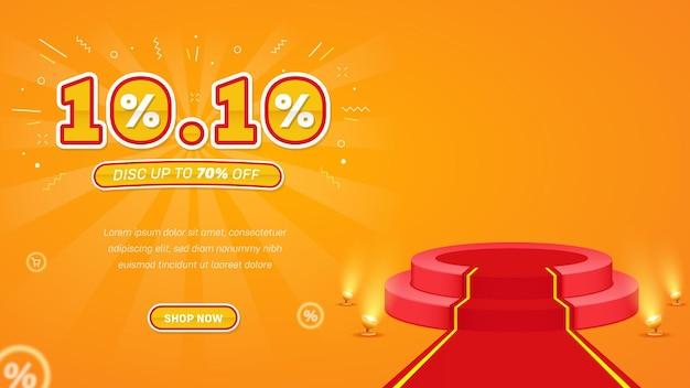Hintergrundbanner realistischer 1010 flash sale mit podium