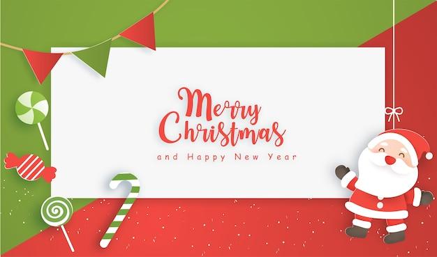 Hintergrunddesign der glücklichen weihnachtsfeier im papierschnittstil mit weihnachtselementen.
