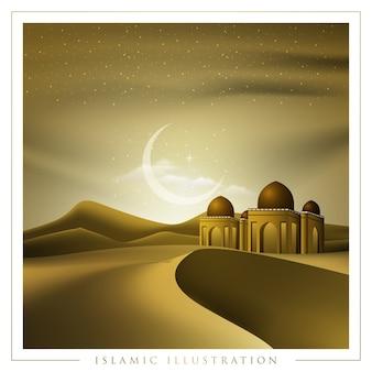 Hintergrunddesign der islamischen illustration mit wüste und moschee