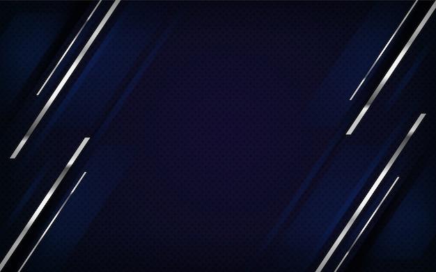 Hintergrunddesign der kombination aus luxusmarine und silbernen linien.
