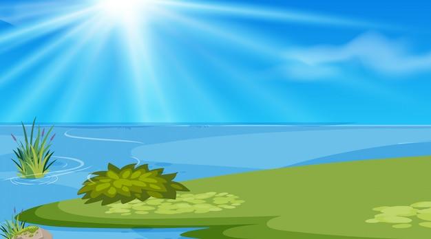 Hintergrunddesign der landschaft mit see zur tageszeit