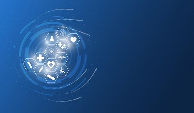 Hintergrunddesign der medizinischen innovation des gesundheitswesenikonenmusters