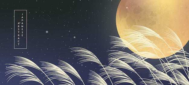 Hintergrunddesign des abstrakten musters des orientalischen japanischen stils vollmondnacht sternenhimmel und pflanzenrohr