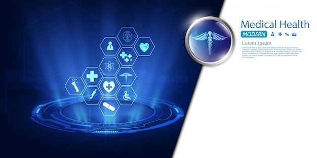 Hintergrunddesign des medizinischen innovationskonzeptes des gesundheitsikonenmusters