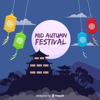 Hintergrunddesign für mittleres herbstfestival