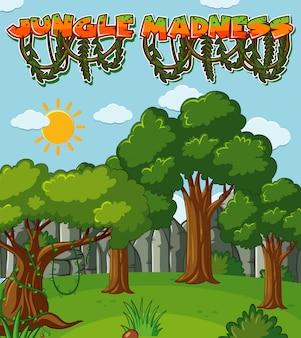 Hintergrunddesign mit bäumen im waldhintergrund