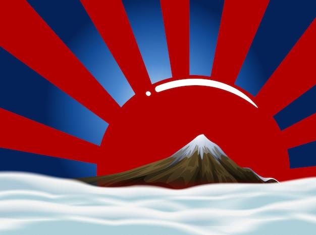 Hintergrunddesign mit berg und himmel