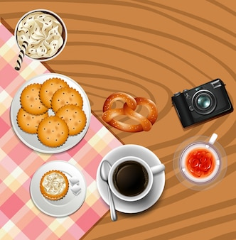 Hintergrunddesign mit crackern und getränken