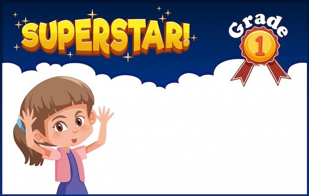 Hintergrunddesign mit glücklichem mädchen und wort-superstar