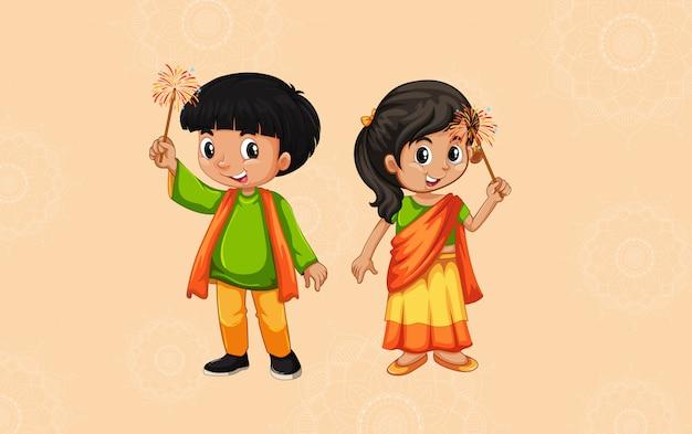 Hintergrunddesign mit glücklichen kindern und mandalamustern