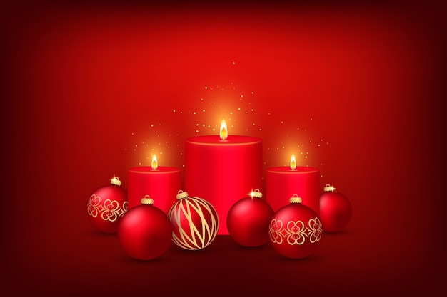 Hintergrunddesign mit kerze für weihnachten