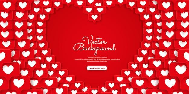 Hintergrunddesign mit roten liebeselementen